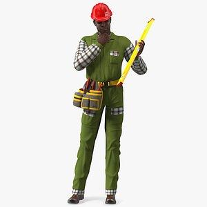 3D Dark Skinned Black Builder Standing Pose model