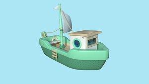 3D Cartoon Boat 01 Green - Low Poly Ship