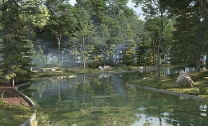 Park Wetland Park Ecological Park Modern Park City Park Green Forest Forest Nature Camping Site 3D model