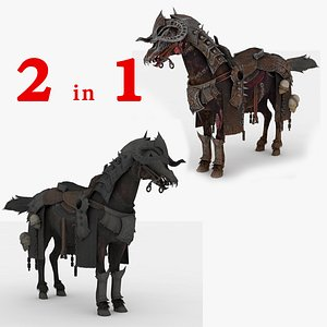 3D model 2 in 1 Horse Fully Rigged