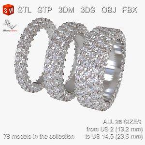 Infinity diamond rings Pack 3D print model 3D model