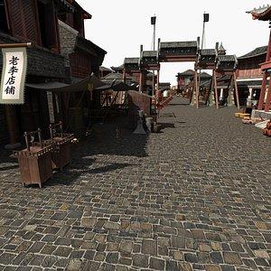 3D ancient commerce street model