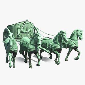 3D quadriga chariot statue sculpture