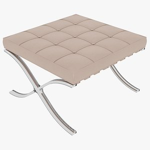 Knoll Beige Leather Barcelona Stool Ottoman 3D model