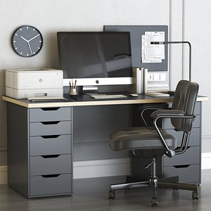 IKEA office workplace with ALEX table and ALEFJALL chair 3D model