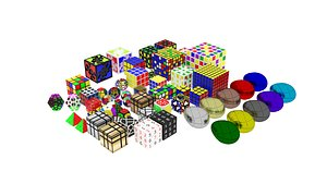 3D Different Type of Cubiks Cube Collection model