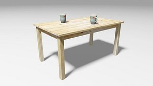 Wooden Table and Two Mugs model