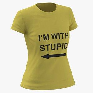 Female Crew Neck Worn Yellow Im With Stupid 01