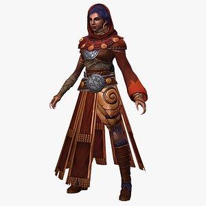 3D stylized female magician wizard model