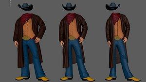 3D cowboy costume ready print model