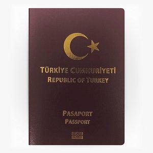 3D TURKEY Passport model