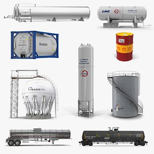 Oil Storage Tanks Collection 4 3D model