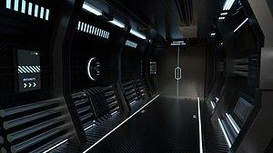 Black SciFi Backdrop - Scenery Full Perm Spaceship Interior model