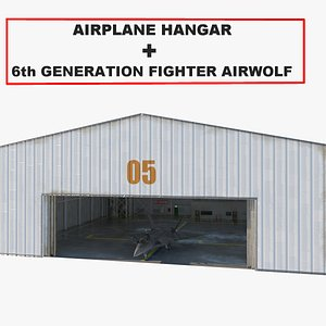 3D Airplane hangar   Next fighter Airwolf model