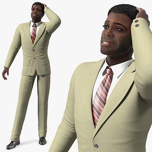 Dark Skin Afro American Businessman 3D model