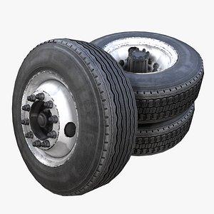 3D Heavy truck steel wheels PBR
