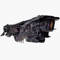 SciFi CapitalDestroyerSpaceshipRigged