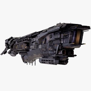 Sci Fi Capital Destroyer Spaceship Rigged 3D
