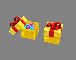 Cartoon Diamond Gift Box - Gem Gift Box 3D model