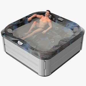 3D Hot Tub with Man model