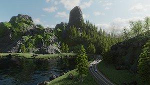 highway scene 3D