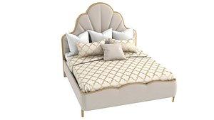 3D model Michael Amini AICO MALIBU CREST Cal King Scalloped Panel Bed