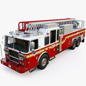 Fire Truck Ladder Department sity of New York 3D model