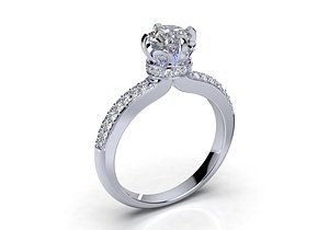 solitaire diamond ring cad 3D model