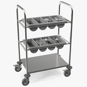 3D model tray cutlery trolley