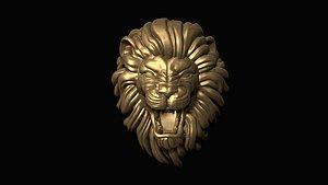 print furious lion head 3D model
