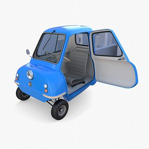 3D model Peel P50 Blue with interior and chassis