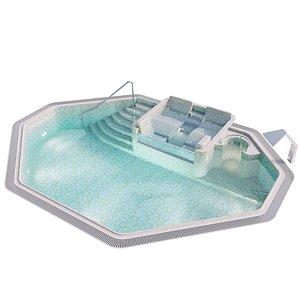 pool area hydromassage waterfall model