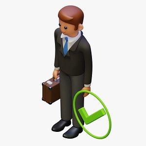 suitcase cartoon suit 3D model