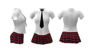 3D Mini School Uniform model