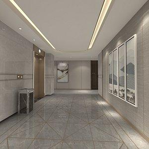 Hotel Corridor with Elevator 3D model