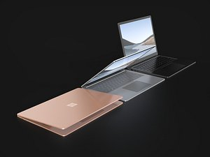 3D Microsoft Surface Laptop 4 in All Metallic Colors model