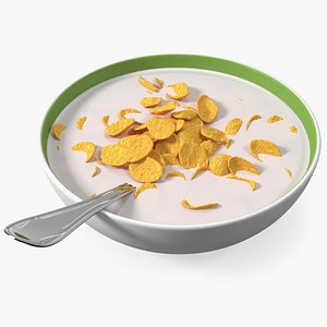 Bowl of Corn Flakes with Milk and Spoon model