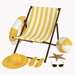 Beach composition 01 yellow 3D model