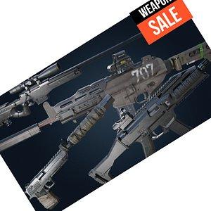 4 Weapon set - 2-AR PISTOL Sniper 3D model