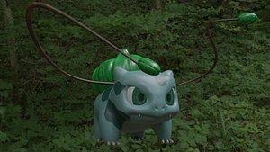 3D Bulbasaur and pokeballs