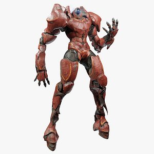 3D Giant Red Mecha - Game Ready Robot