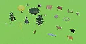 set nature objects model