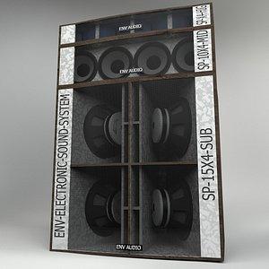 3D PA Speakers System model