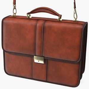 3D Classic Leather Briefcase Brown model