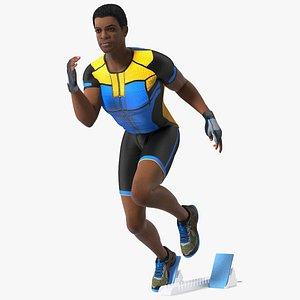 Light Skin Black Sportsmen with Starting Block Rigged 3D model