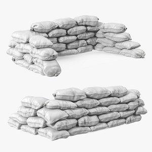 White Sandbag Barricade 3D model