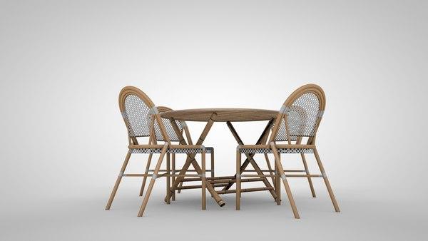 3d Model Patio Furniture Bamboo, Bamboo Patio Furniture Set