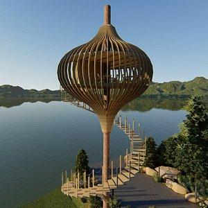 3D model tree restaurant