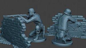 3D german soldier ww2 shoot