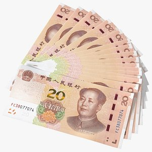 3D Fan of Chinese 20 Yuan 2019 Banknotes model
